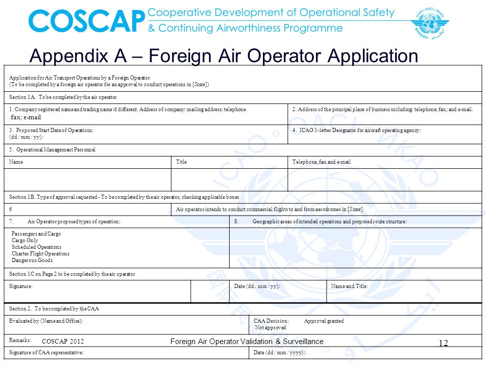 Appendix A – Foreign Air Operator Application