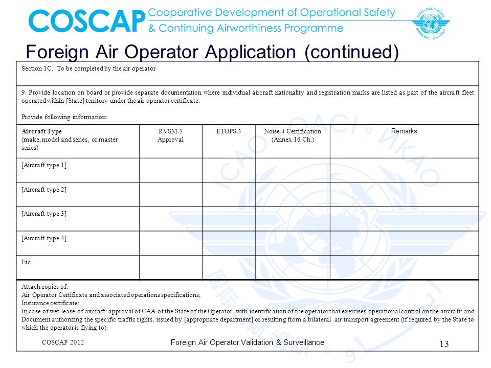 Foreign Air Operator Application (continued)