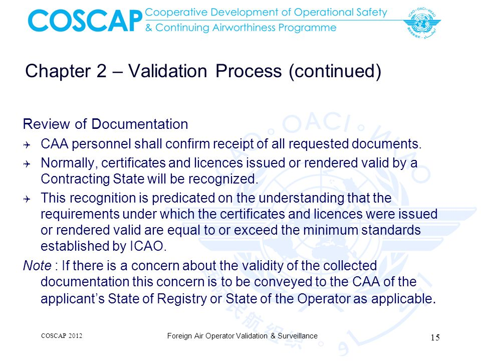 Chapter 2 – Validation Process (continued)