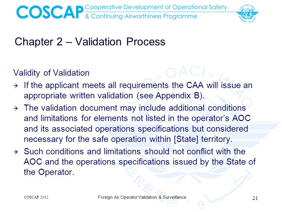 Chapter 2 – Validation Process