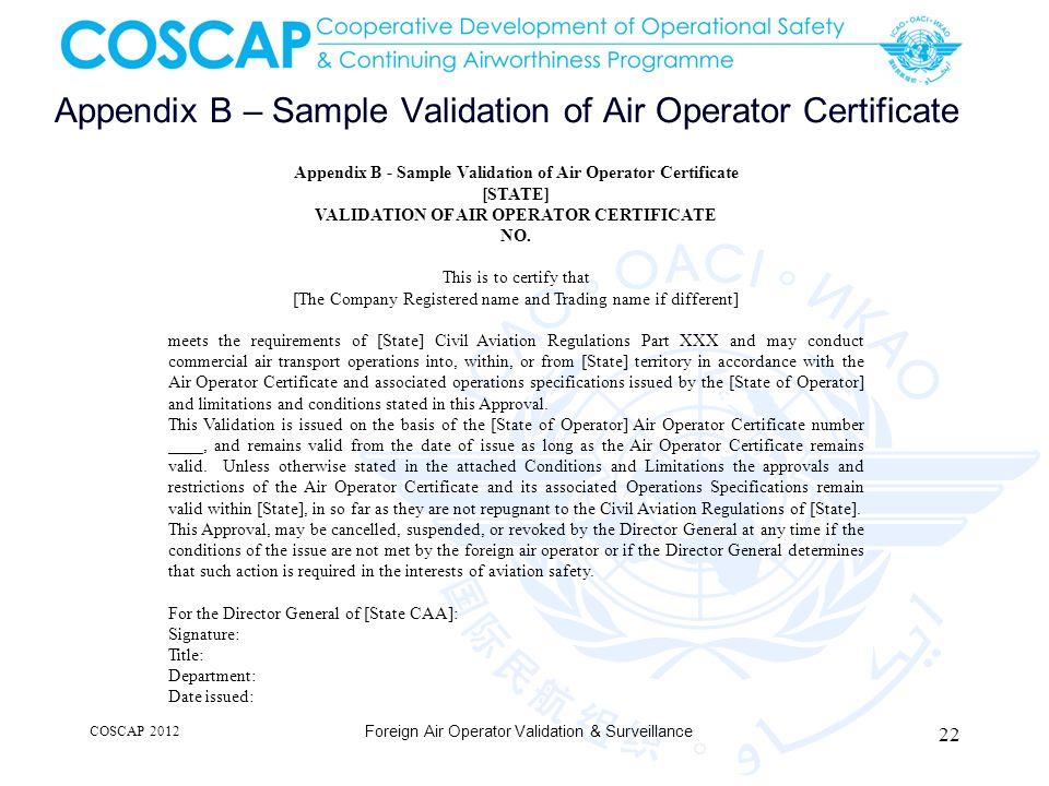 Appendix B – Sample Validation of Air Operator Certificate