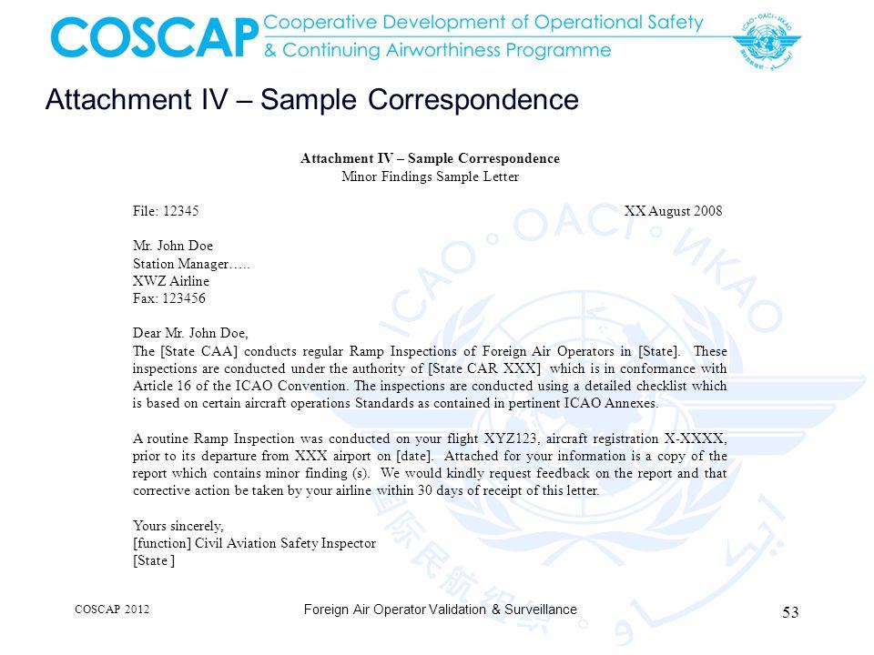 Attachment IV – Sample Correspondence