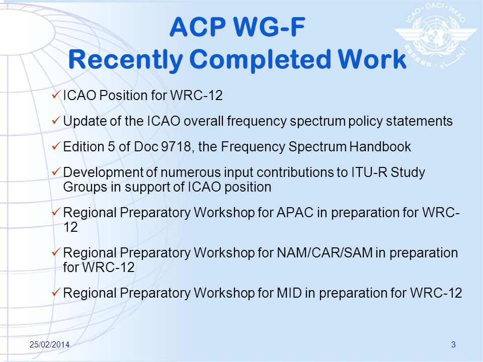ACP WG-F Recently Completed Work
