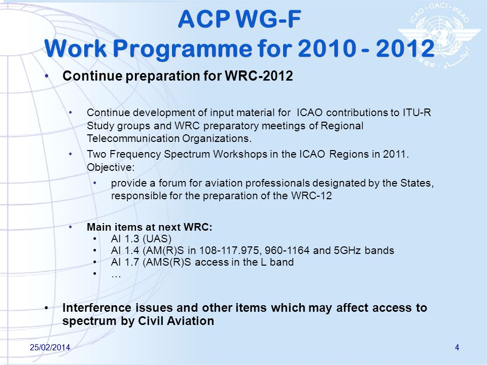 ACP WG-F Work Programme for