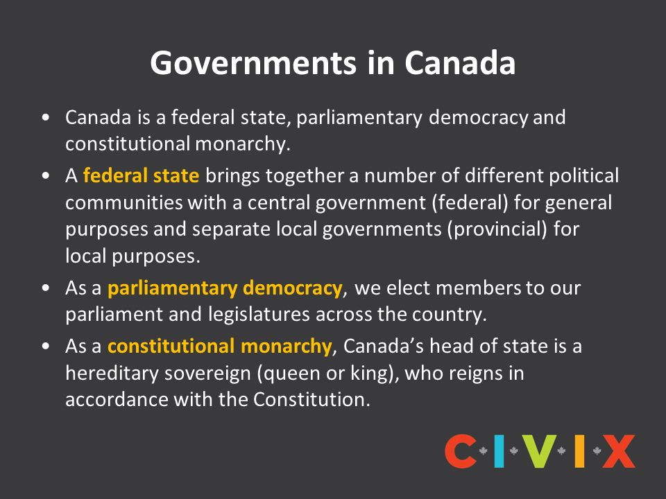 an overview of the constitutional monarchy of canada and the responsibilities of the government Canada's constitution is based on the westminster parliamentary model, wherein the role of the queen is both legal and practical, but not the great seal of canada signifies the power and authority of the crown flowing from the sovereign to [the] parliamentary government and.