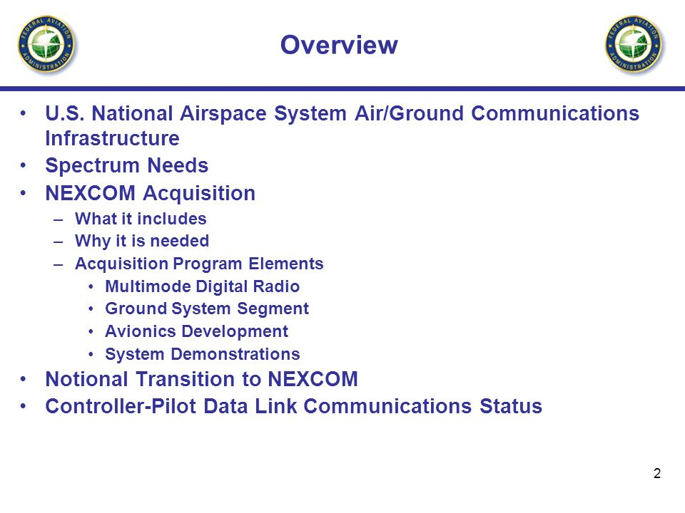 Overview U.S. National Airspace System Air/Ground Communications Infrastructure. Spectrum Needs. NEXCOM Acquisition.