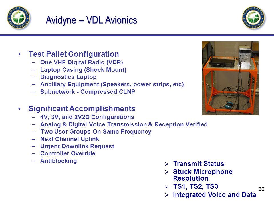 Avidyne – VDL Avionics Test Pallet Configuration