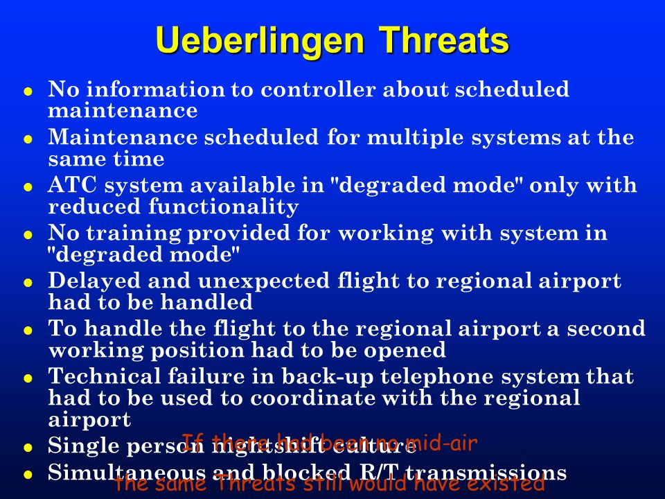 Ueberlingen Threats No information to controller about scheduled maintenance. Maintenance scheduled for multiple systems at the same time.