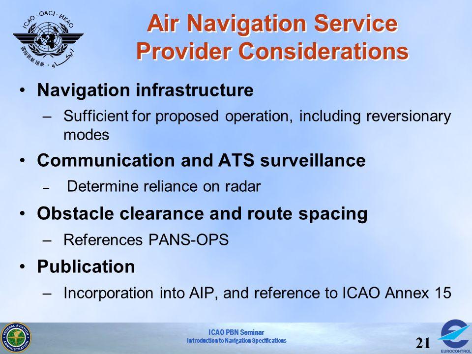 Air Navigation Service Provider Considerations
