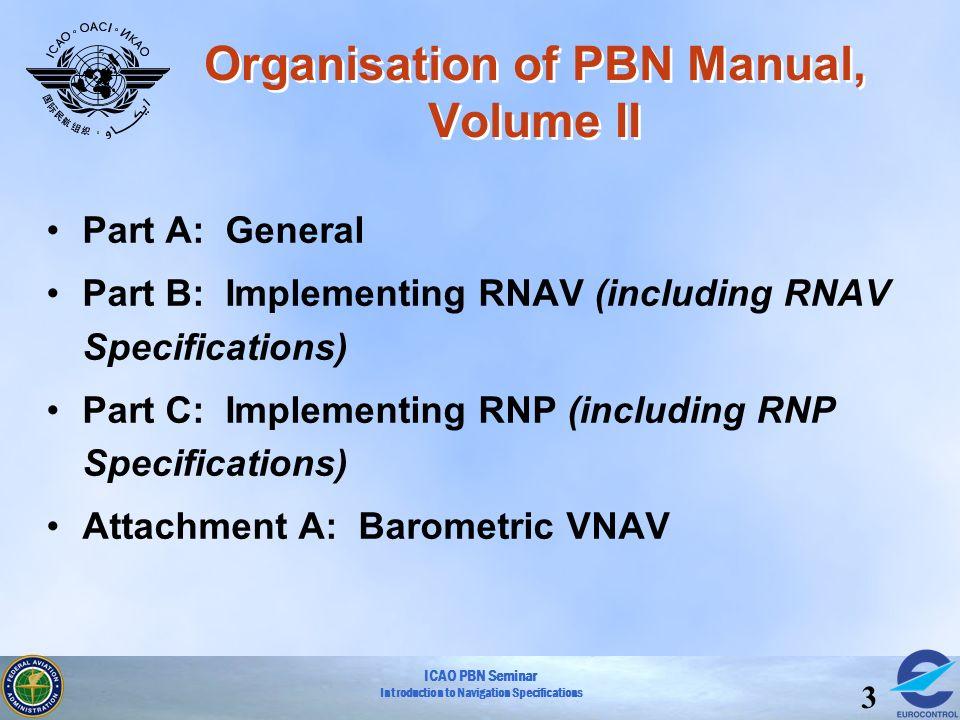 Organisation of PBN Manual, Volume II