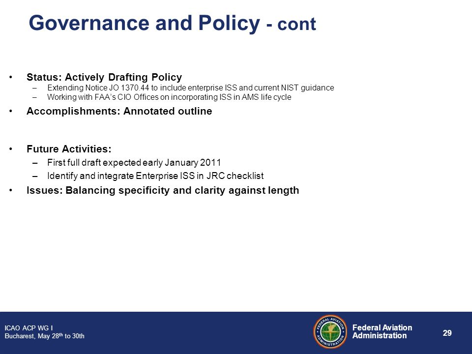 Governance and Policy - cont