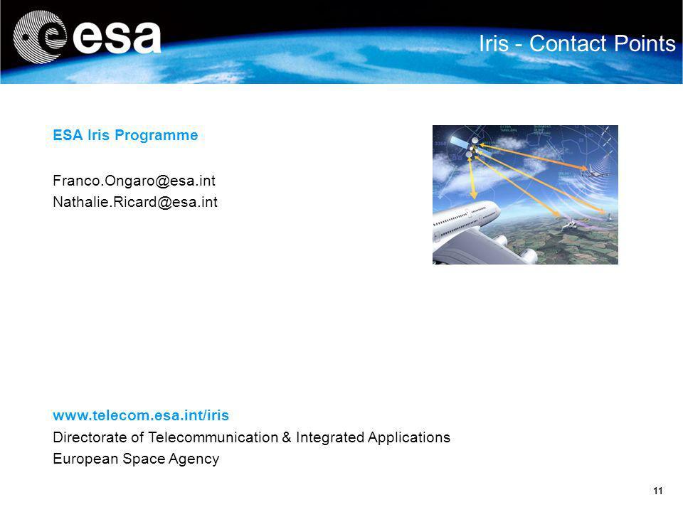 Iris - Contact Points ESA Iris Programme Franco.Ongaro@esa.int