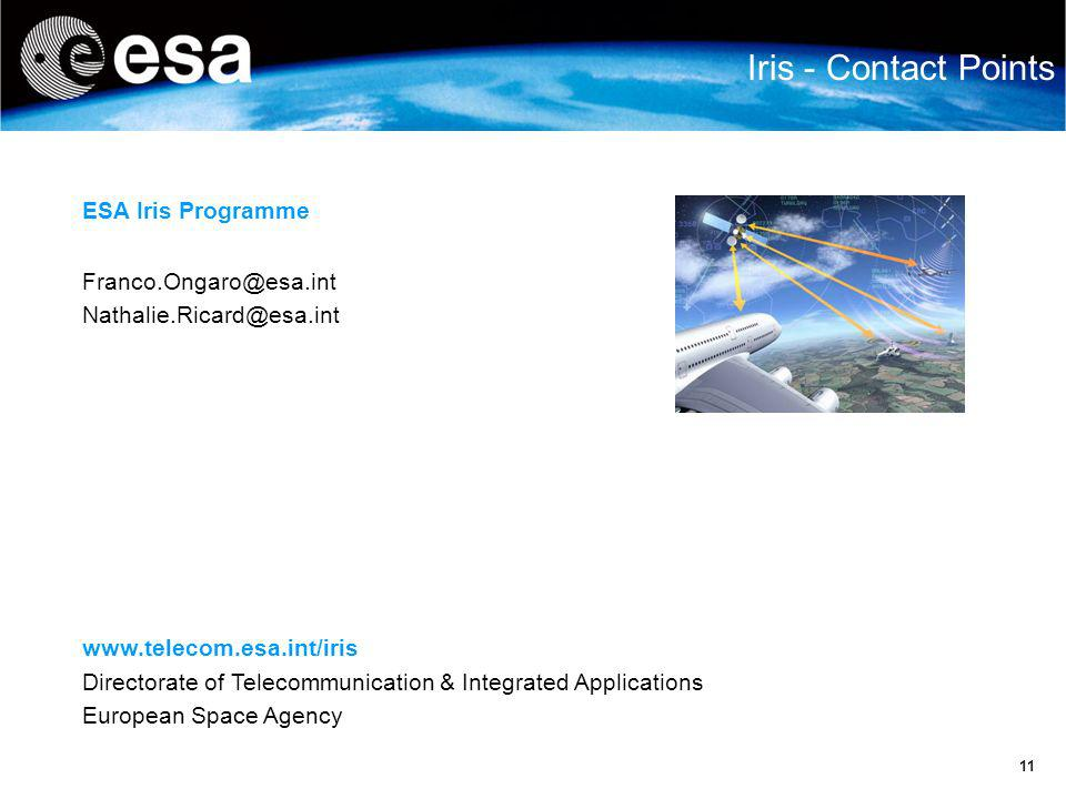 Iris - Contact Points ESA Iris Programme