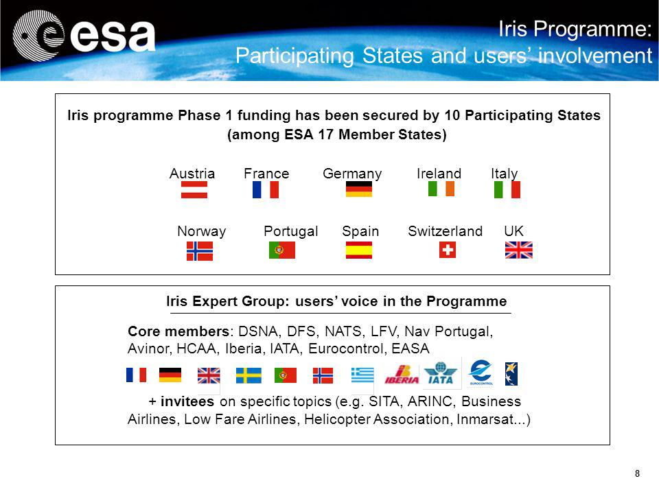 Iris Programme: Participating States and users' involvement