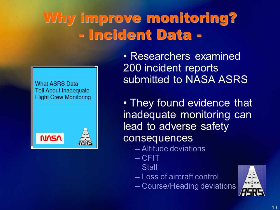 Why improve monitoring - Incident Data -