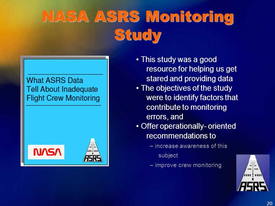 NASA ASRS Monitoring Study