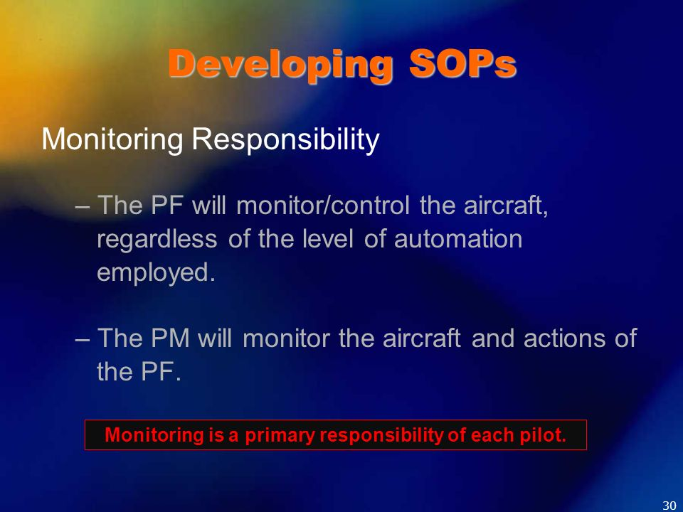 Monitoring is a primary responsibility of each pilot.