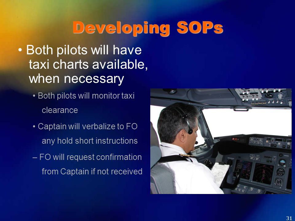 Developing SOPs • Both pilots will have taxi charts available, when necessary. • Both pilots will monitor taxi clearance.