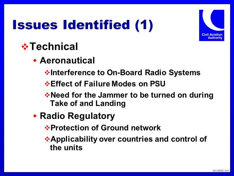 Issues Identified (1) Technical Aeronautical Radio Regulatory