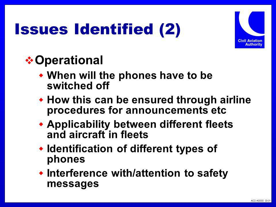 Issues Identified (2) Operational