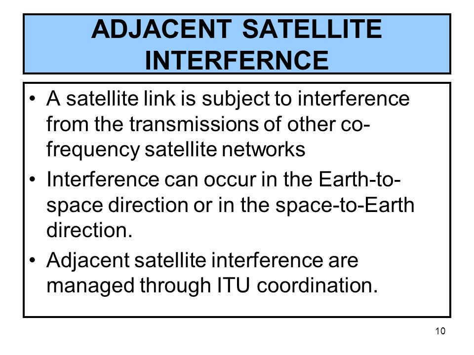 ADJACENT SATELLITE INTERFERNCE