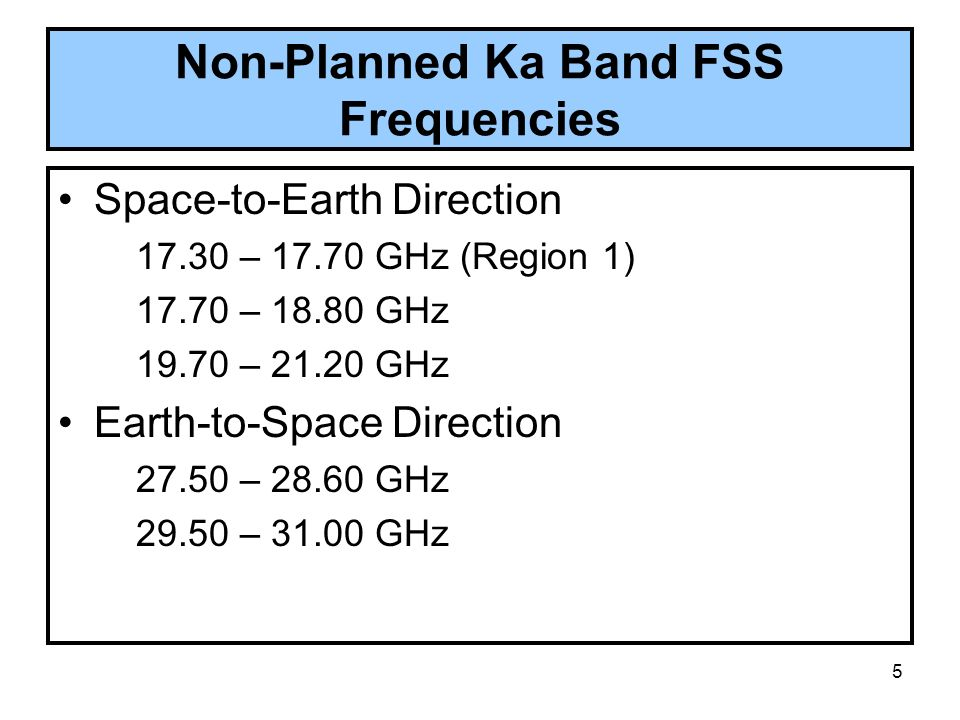 Non-Planned Ka Band FSS Frequencies
