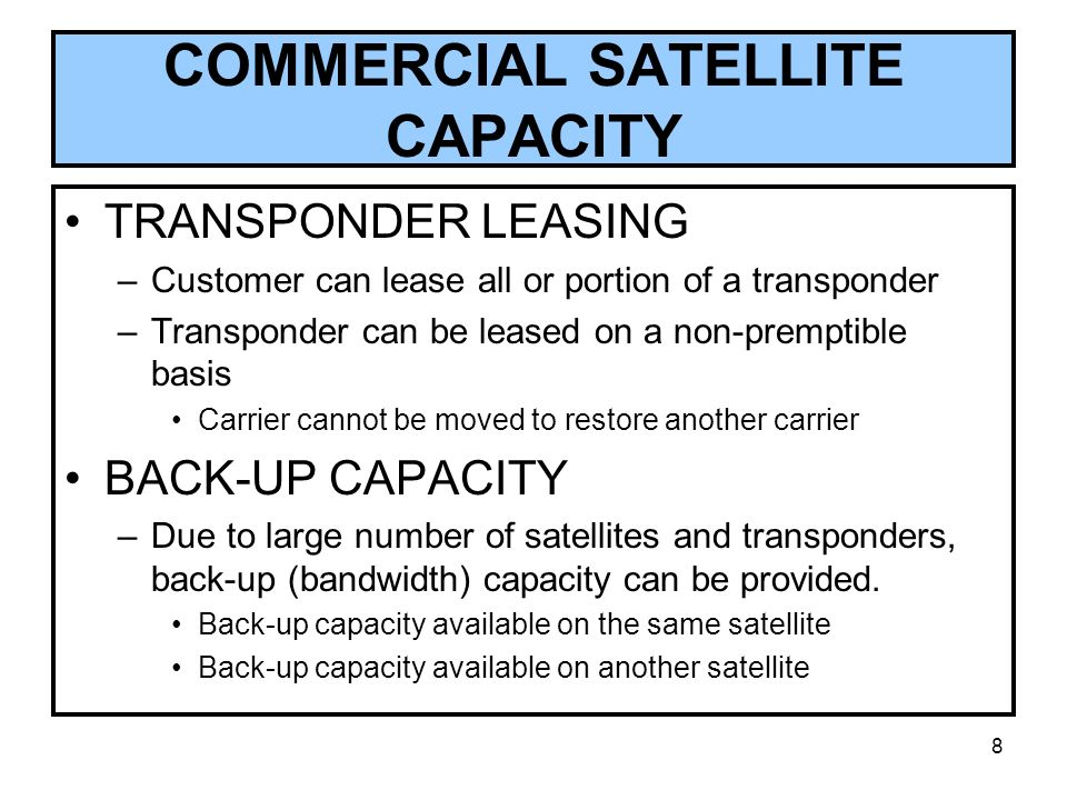 COMMERCIAL SATELLITE CAPACITY