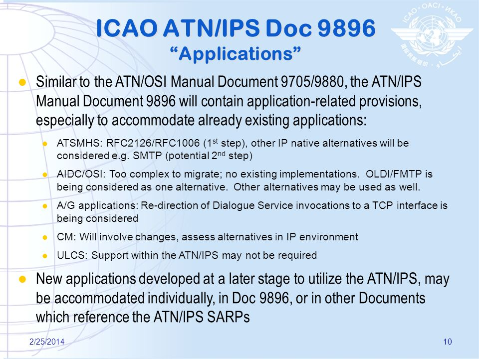 ICAO ATN/IPS Doc 9896 Applications