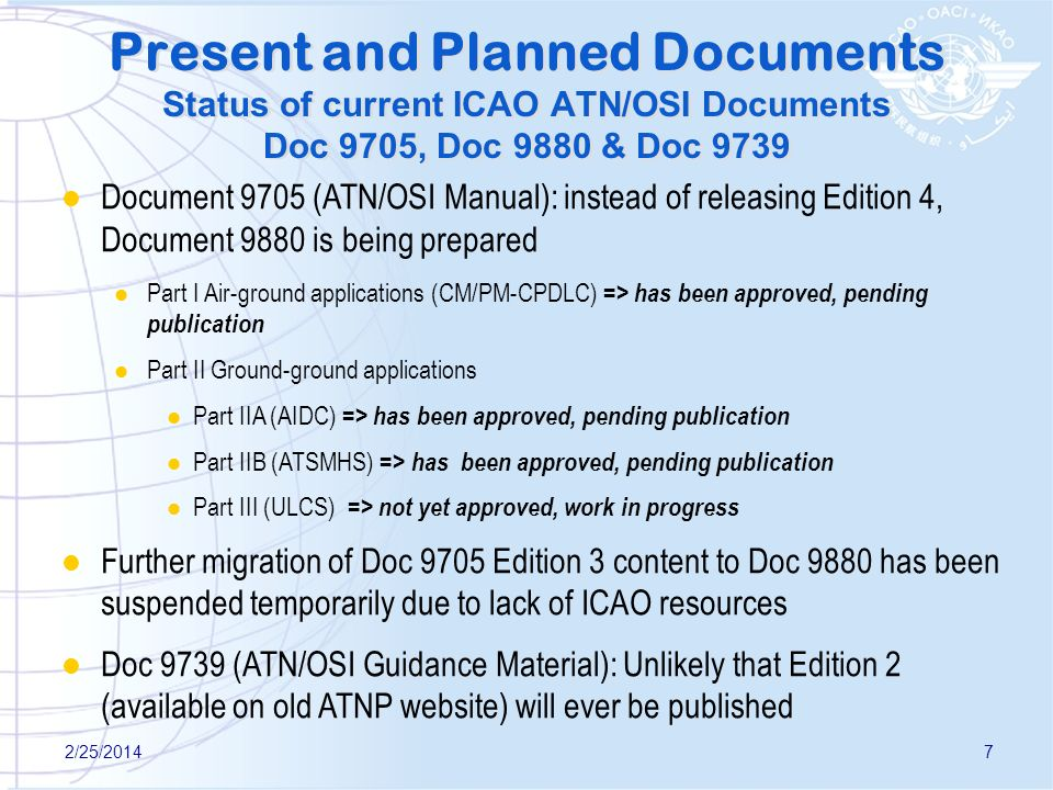 Present and Planned Documents Status of current ICAO ATN/OSI Documents Doc 9705, Doc 9880 & Doc 9739