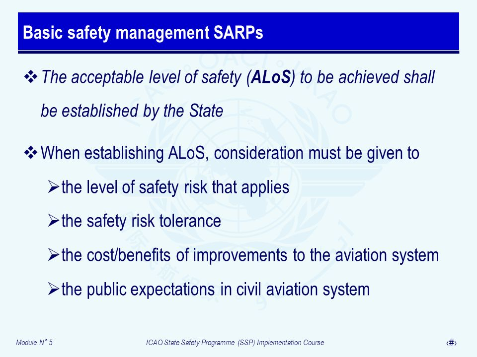 Basic safety management SARPs