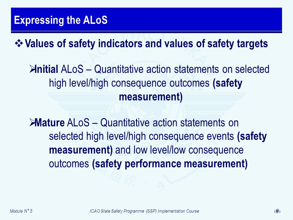 Expressing the ALoS Values of safety indicators and values of safety targets.