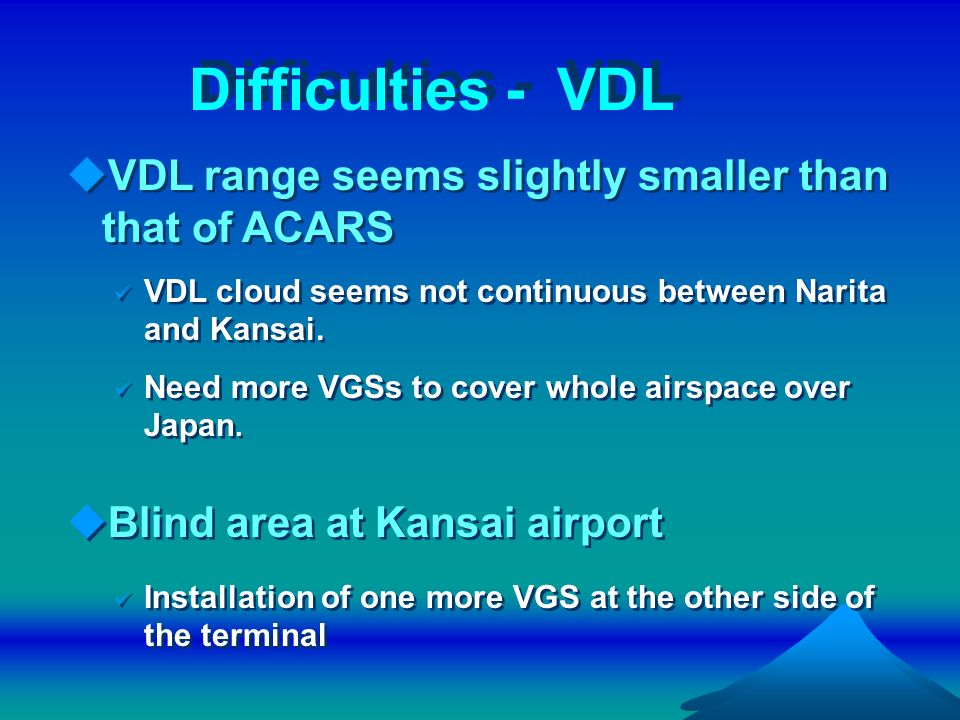 Difficulties - VDL VDL range seems slightly smaller than that of ACARS