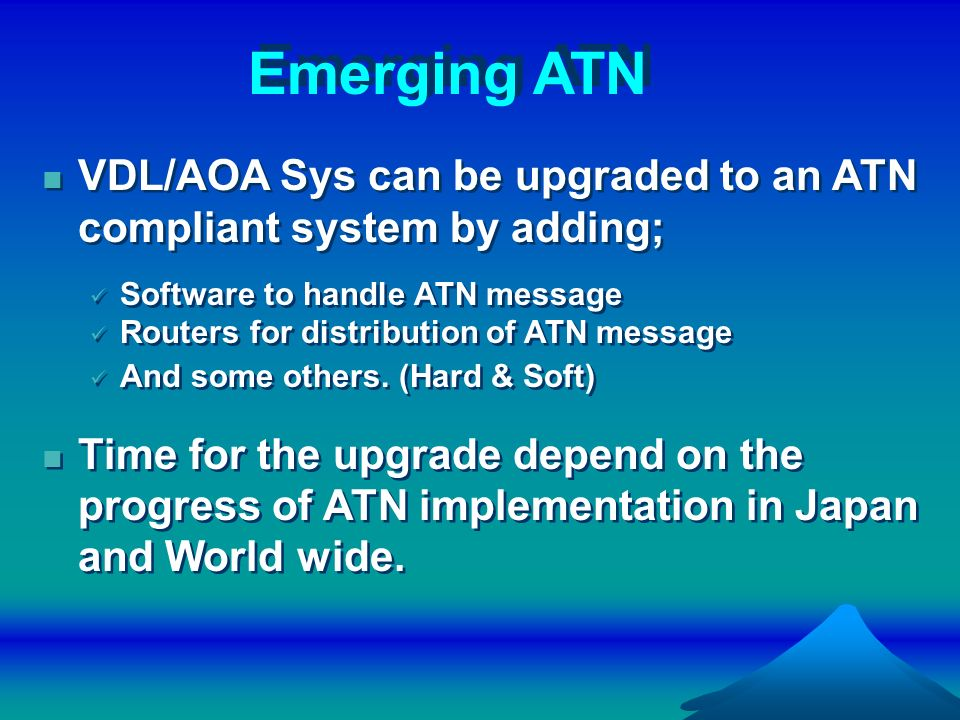 Emerging ATN VDL/AOA Sys can be upgraded to an ATN compliant system by adding; Software to handle ATN message.