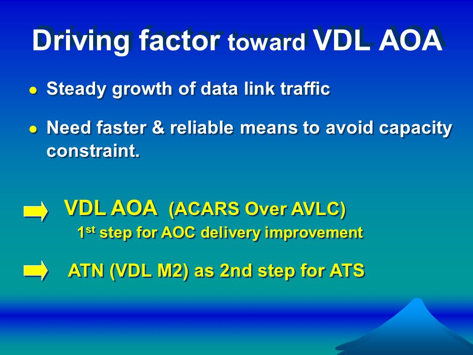 Driving factor toward VDL AOA