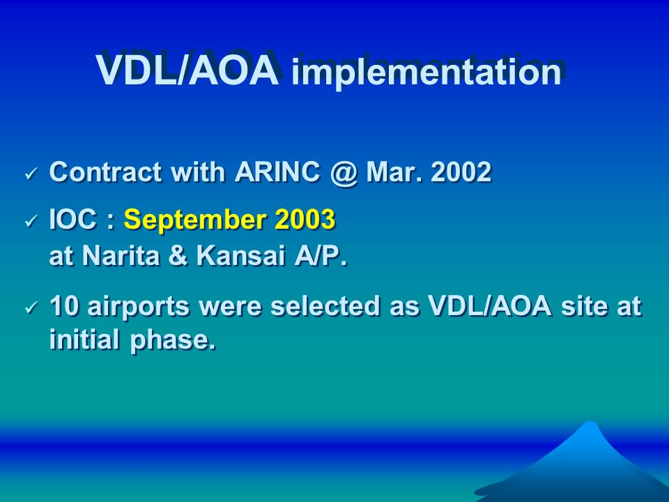 VDL/AOA implementation