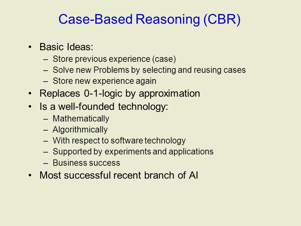 cbr case based reasoning This research focused on the use of case based reasoning (cbr) for treatment and management of diabetes cbr is a field.