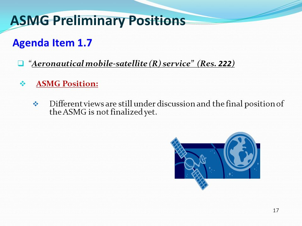 ASMG Preliminary Positions