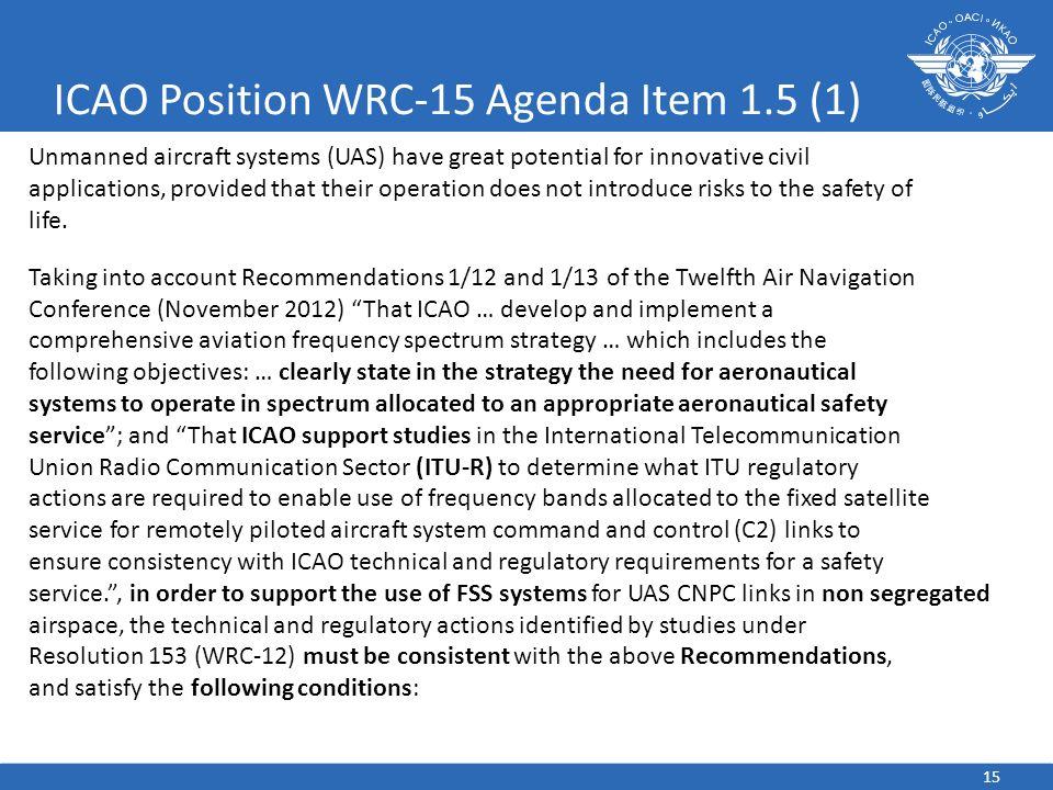 ICAO Position WRC-15 Agenda Item 1.5 (1)
