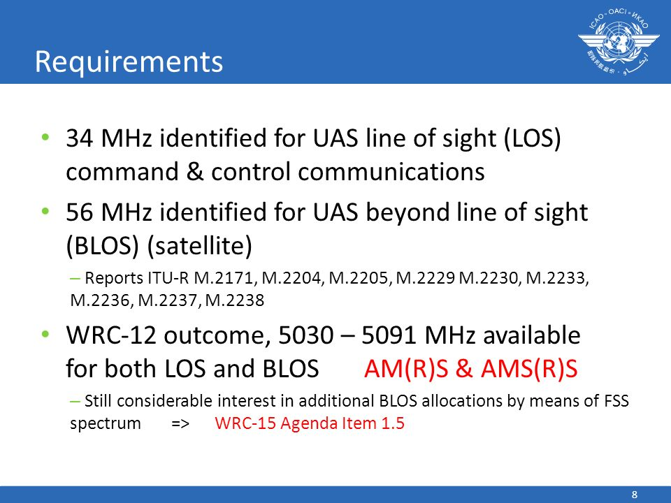 Requirements 34 MHz identified for UAS line of sight (LOS) command & control communications.