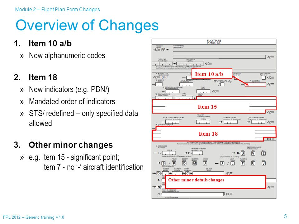 Overview of Changes Item 10 a/b New alphanumeric codes Item 18
