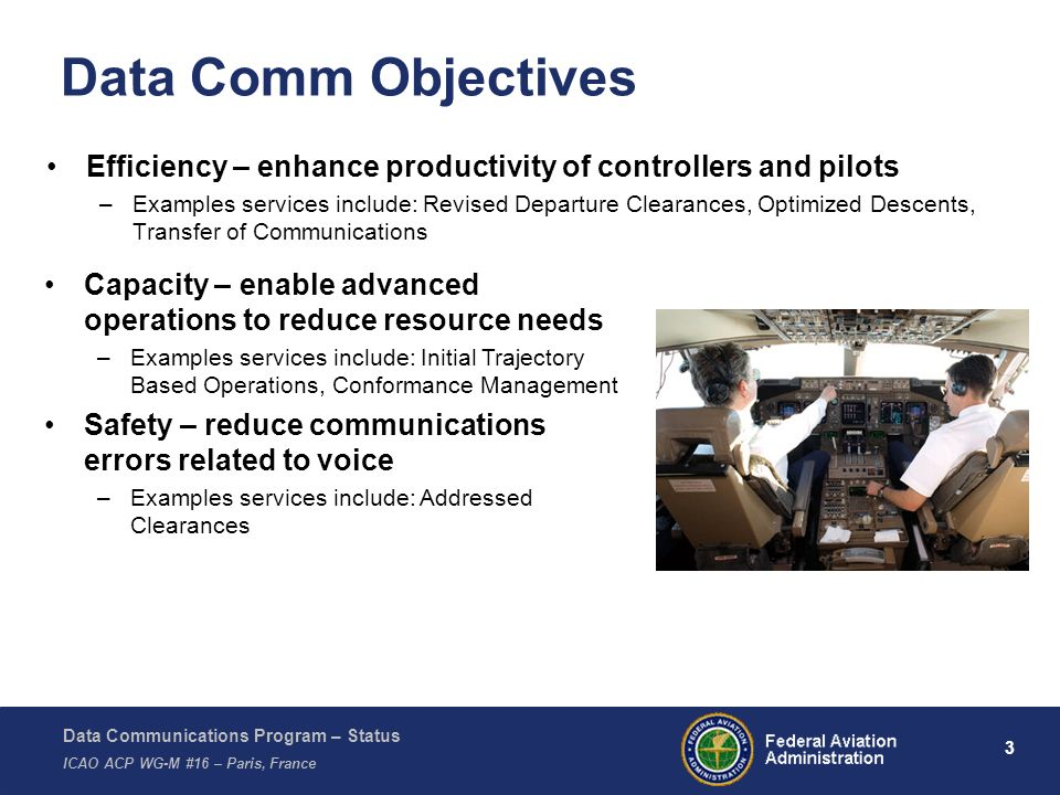 Data Comm Objectives Efficiency – enhance productivity of controllers and pilots.