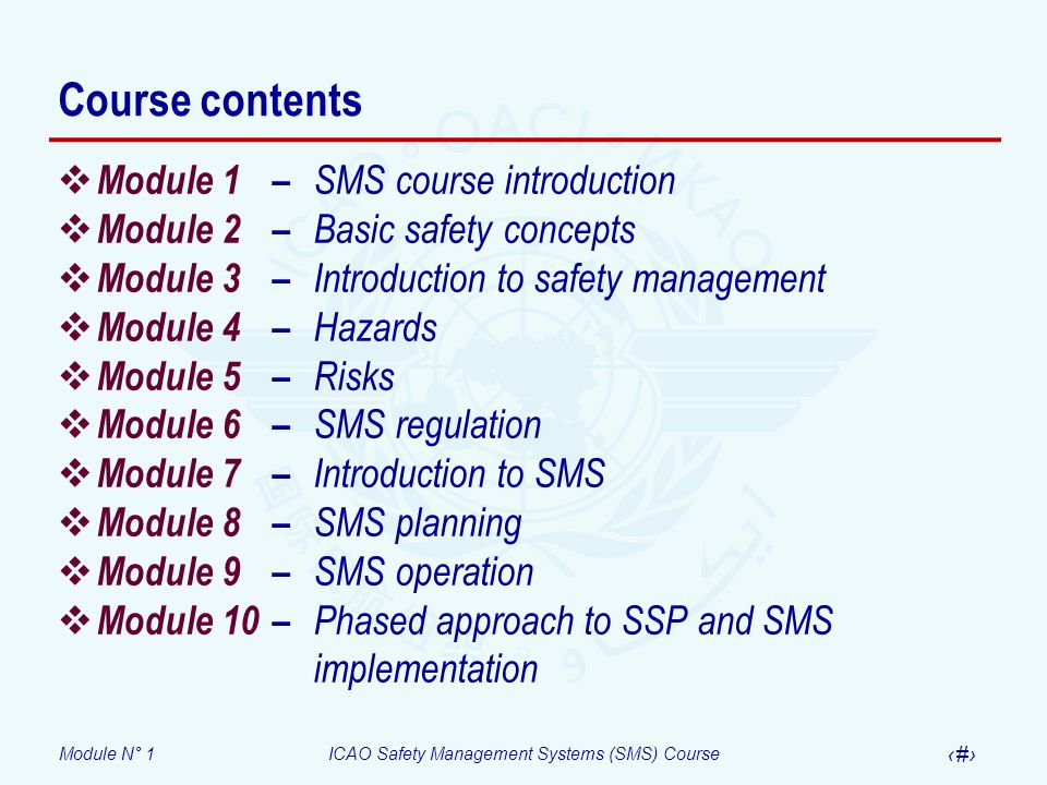 Course contents Module 1 – SMS course introduction