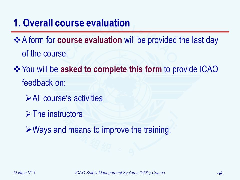 1. Overall course evaluation