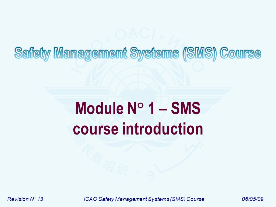 Module N° 1 – SMS course introduction