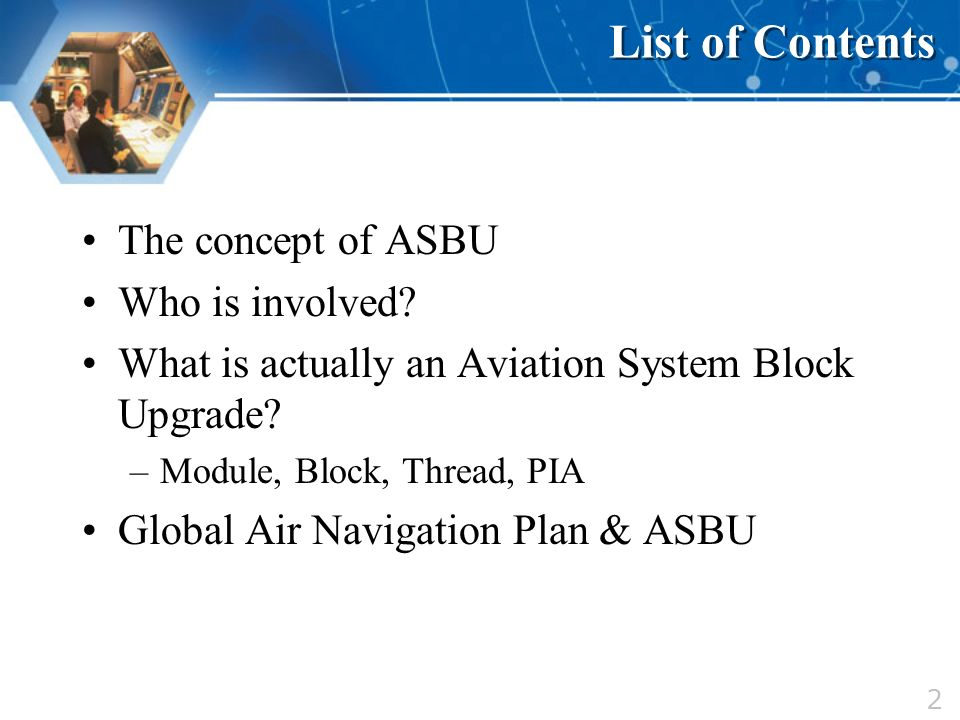 List of Contents The concept of ASBU Who is involved
