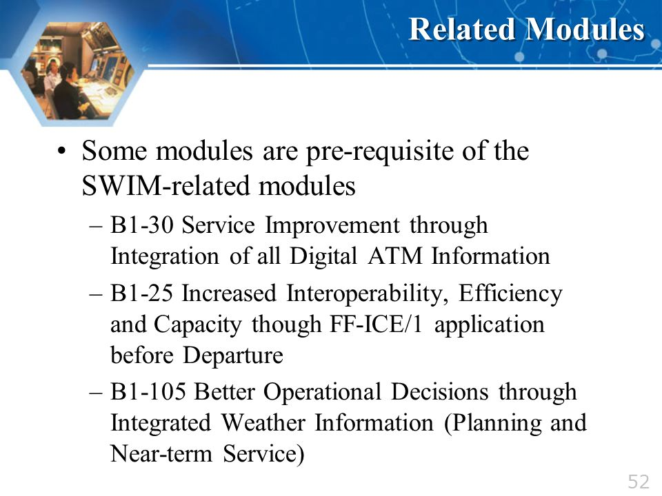 Related Modules Some modules are pre-requisite of the SWIM-related modules.