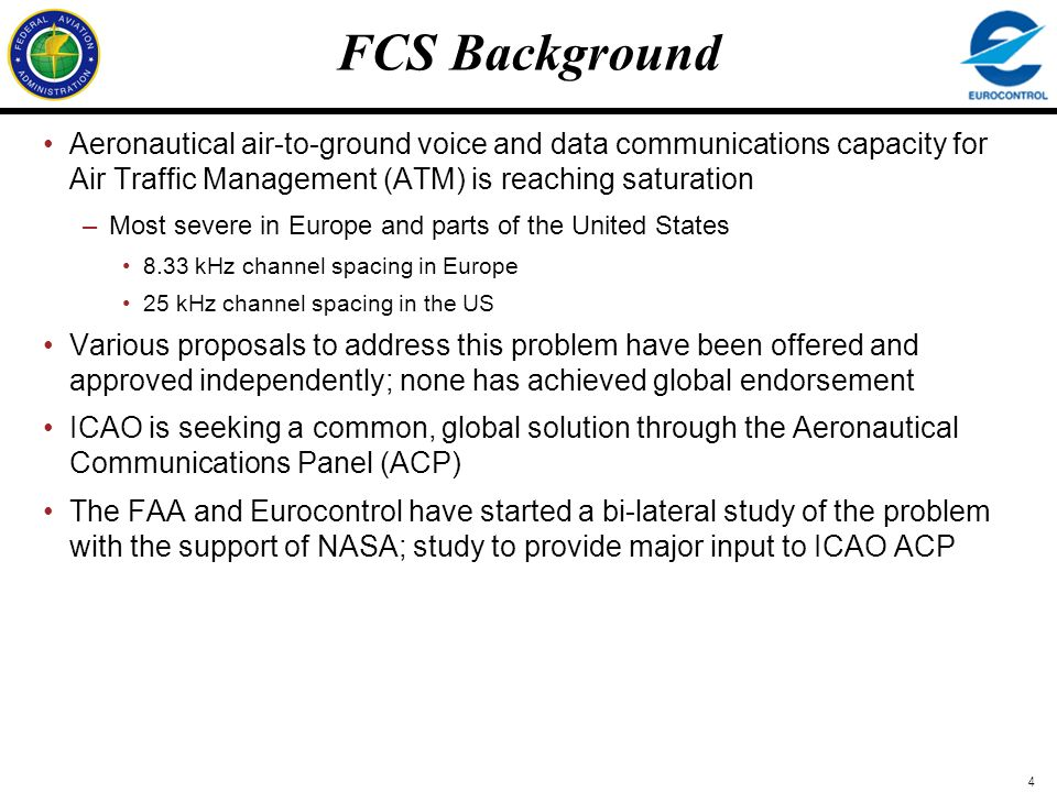FCS Background Aeronautical air-to-ground voice and data communications capacity for Air Traffic Management (ATM) is reaching saturation.
