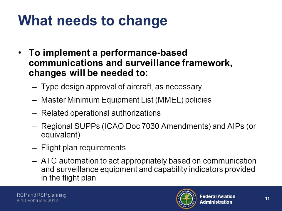 What needs to change To implement a performance-based communications and surveillance framework, changes will be needed to: