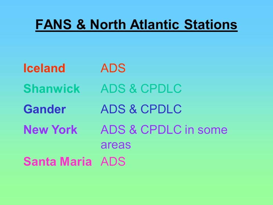FANS & North Atlantic Stations