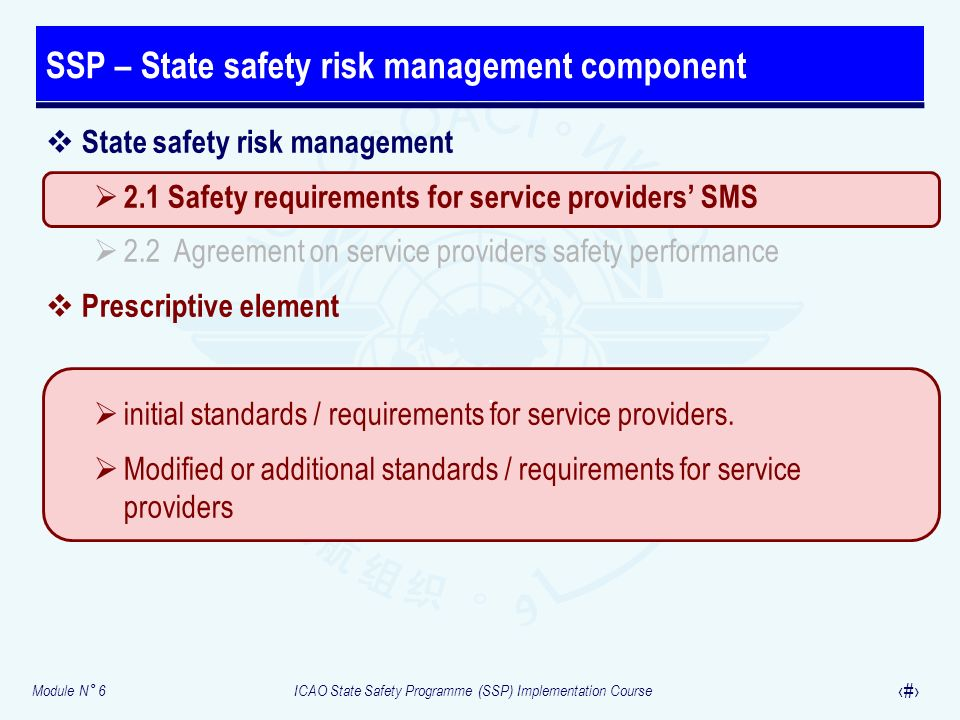 SSP – State safety risk management component